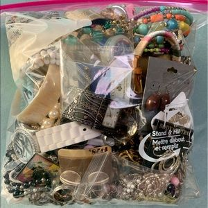 Overstuffed 1gl Bag Vintage Old New Fashion Jewelry Variety Lot